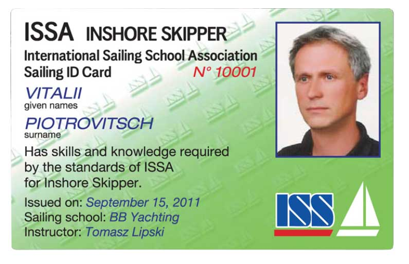 Яхтенный сертификат International Sailing School Association