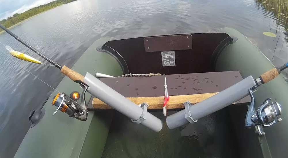 Самодельный держатель для спиннинга на ПВХ лодку