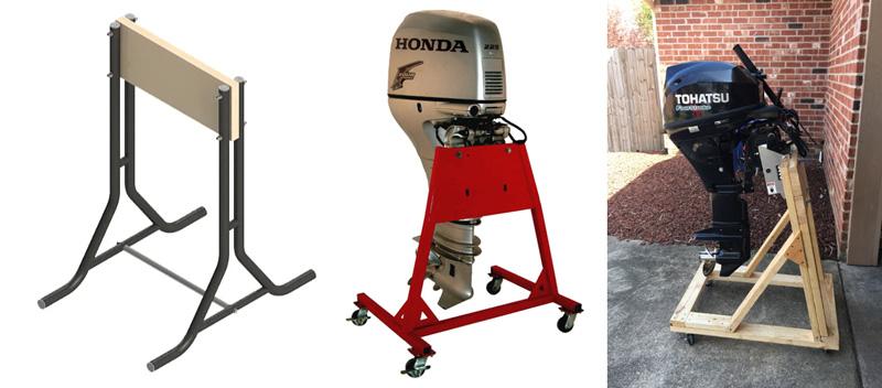 Заводские и самодельные напольные стойки для хранения лодочного мотора