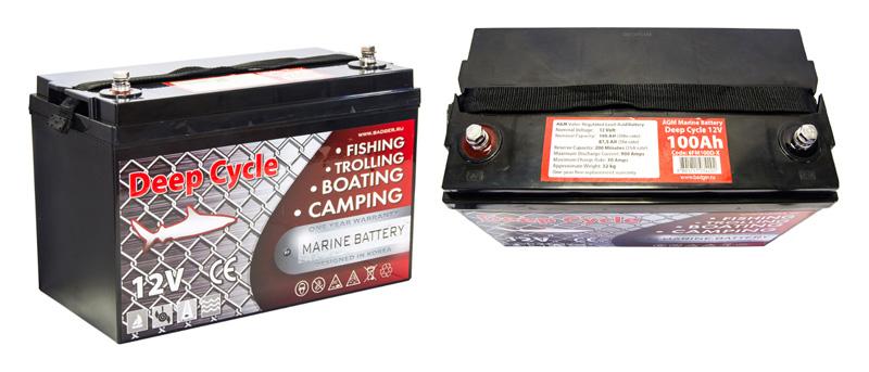 Тяговые аккумуляторы для лодочных электромоторов с технологией AGM Marine Deep Cycle AGM 100Ah