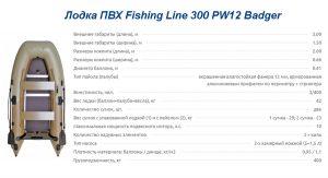 Лодка ПВХ Fishing Line 300 PW12 Badger
