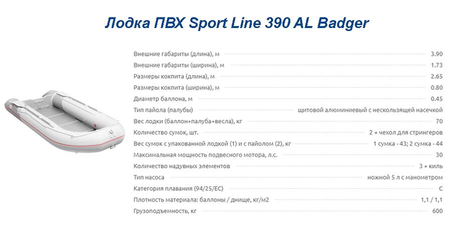Лодка ПВХ Sport Line 390