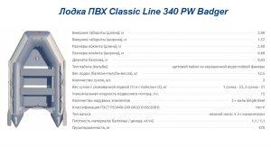 Лодка ПВХ Classic Line 340 PW Badger