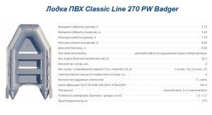 Лодка ПВХ Classic Line 270 PW Badger